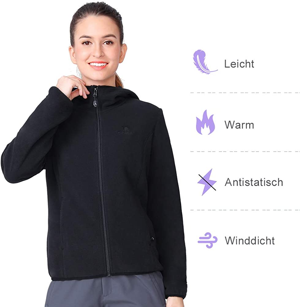 CAMELCPORTS Womens Fleece Jackets with Pockets Active Performance Hooded Soft Full Zip Spring Jacket for Outdoor