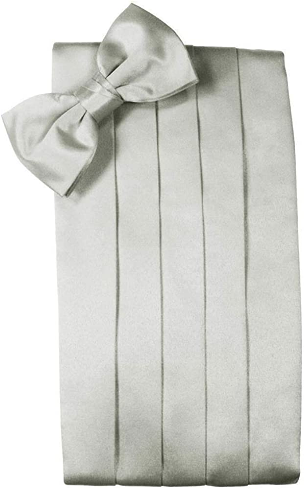 Men's 100% Noble Silk Cummerbund & Bow Tie Set - Many Colors (Platinum)