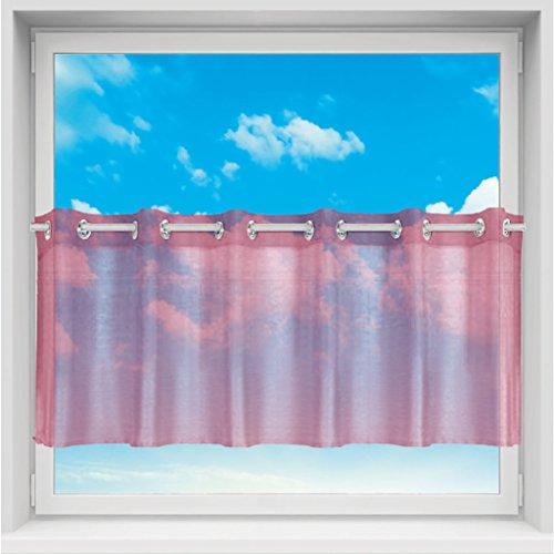 Transparente Bistrogardine Voile mit Ösen, Schlichte und Moderne Fensterdekoration in vielen Größen erhältlich (weinrot - Burgundy / B160xL60)