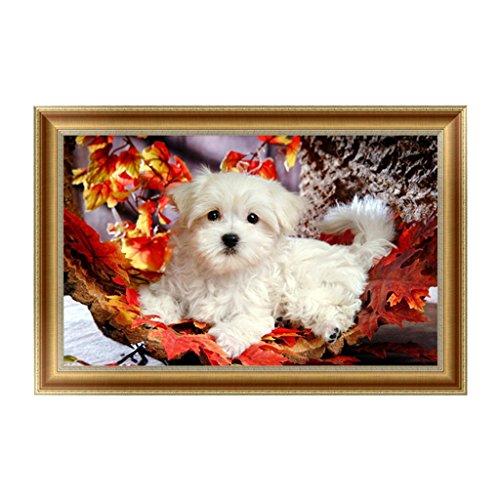 Logres Peinture diamant 5D à faire soi-même, motif chien adorable, décoration de chambre