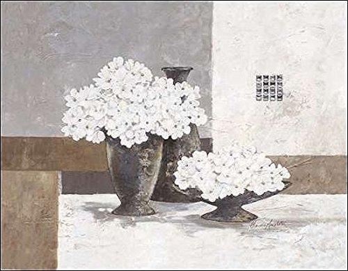 Rahmen-Kunst Keilrahmen-Bild - Claudia Ancilotti: Chrystal Pearl Leinwandbild Stillleben floral modern grau (50x60)