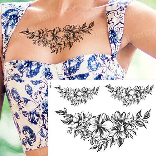 Handaxian 3pcs Empire Tattoo Black Tattoo Flower 3pcs-4
