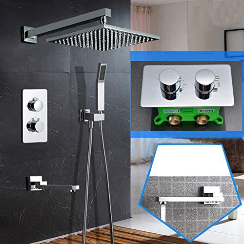 LXUNIA Oro o Oro Cepillado o Oro Rosa Latón Interruptor de Control termostático Grifos de válvula mezcladora Tina Oculta de 10 Pulgadas