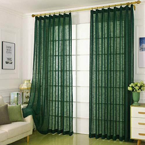 GOPG Vintage Vorhang, Leinen Voile Fensterdekoration Blickdicht mit Ösen Lichtdicht Panel Geeignet für Wohnzimmer Catering Schlafzimmer-100x250cm(39x98Zoll)-Dunkelgrün