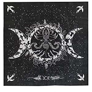 """Altar Tarot Cloth, Triple Goddess Moon Phases Astrology Tarot Cards Divination Special Tablecloth 19"""" x 19"""" with Tarot Pouch"""