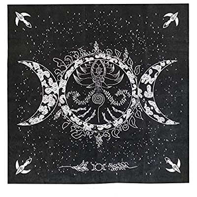 "Altar Tarot Cloth, Triple Goddess Moon Phases Astrology Tarot Cards Divination Special Tablecloth 19"" x 19"" with Tarot Pouch"