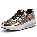 Zapatillas Deportivas de Mujer Gimnasio con Lentejuelas Cuña Zapatos para Caminar Aptitud Plataforma Sneakers con Cordones Calzado de Tacón 4.5cm riou