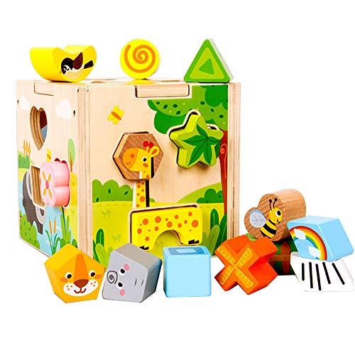 XIAPIA Cubos Apilables Bebe Cubo Actividades de Madera Juguete 1 Año Puzzle Educativos Niños 2 Años de Aprendizaje Montessori