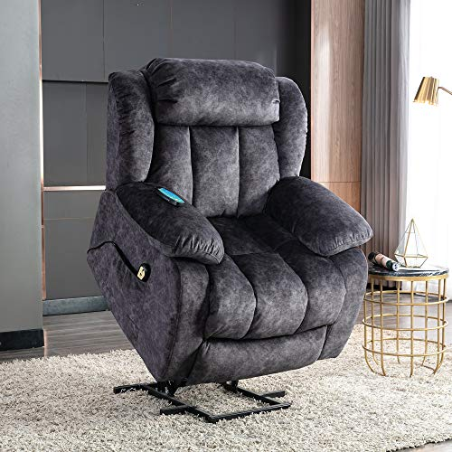 Power Massage Lift Recliner Chair with Heat & Vibration for Elderly, Heavy Duty and Safety Motion Reclining Mechanism - Antiskid Fabric Sofa Contempoary Overstuffed Design (Gray)