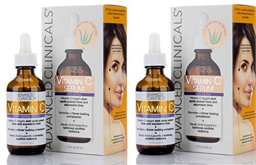 Advanced Clinicals Vitamin C Anti-aging Serum for Dark Spots, Uneven Skin Tone, Crows Feet and Expression Lines. (Two - 1.75oz)