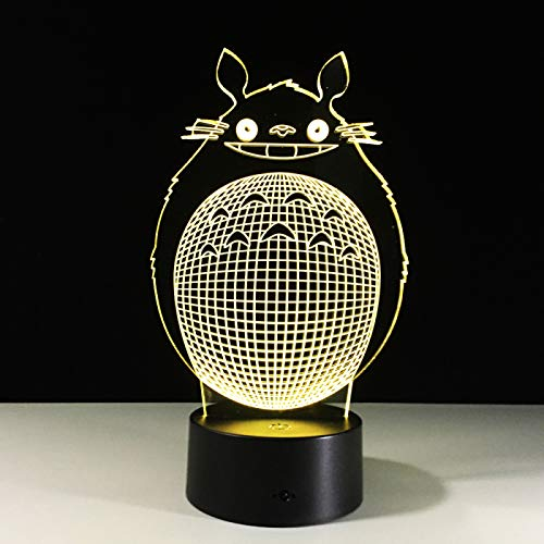 3D Night Light Cartoon Anime Totoro LED Optical Illusion Lamp, Sleeping Lamp, Kid Gift, Colorful Gradient, LED Lighting, Child Lamp, D - Remote Crack White(16 Color)