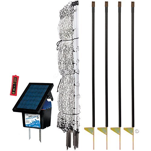 Premier 48' PoultryNet Plus Starter Kit - Includes White PoultryNet Plus Net Fence - 48' H x 100' L, Double Spiked, Solar IntelliShock 60 Fence Energizer, FiberTuff Support Posts & Fence Tester