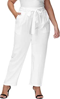 Hanna Nikole Women's Plus Size Cropped Paper Bag Waist Self-tie Belted Pants with Pockets