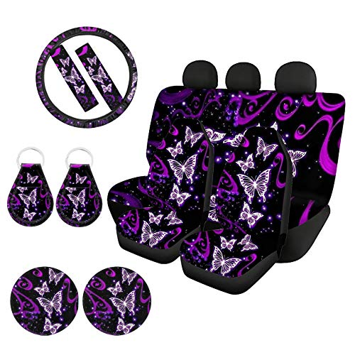Goyentu Bling Purple Butterfly Car Seat Cover Full Set, Car Front Back Seat Cover Blanket with Universal 15 Inch Steering Wheel Cover + Seat Belt Cover + Auto Cup Coasters+ Key Chains Universal
