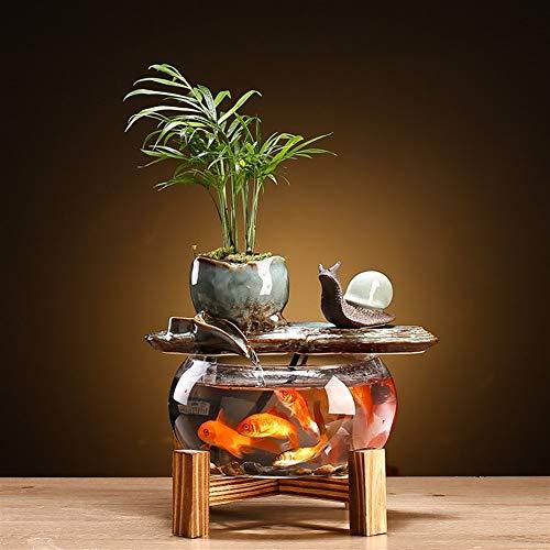 CHENSHUN Zen cerámica Fuente de Agua Ornamentos de Interior Fuentes Lucky Feng Shui Decoración Decoración Caracol Oficina de Escritorio de Cristal del Acuario (Size : C)