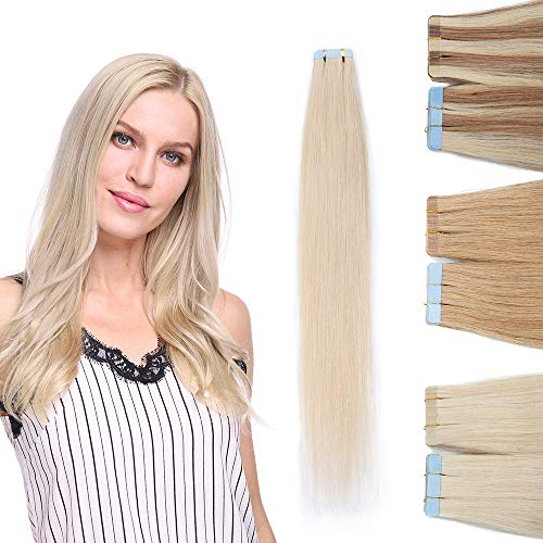 Rich Choices 40cm Extension Adesive Capelli Veri 2.5g/Fasca Tape in Extension Remy Capelli Umani 10 Fasce Pesa 25g, 70 Bianco Sbiancante