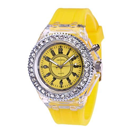 Skryo🛩🛩 Mode Transparente Neutral Quarz Leuchtende Weibliche Silikonband Sportuhr (Gelb)