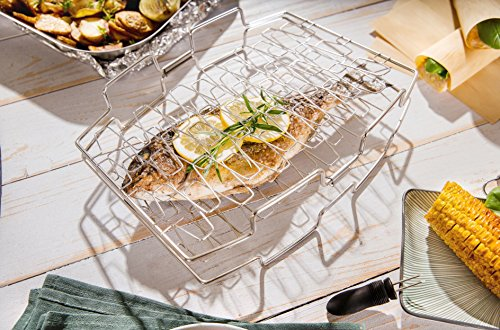 Hecht International 203660119-HE Edelstahl Fischhalter Gemüsehalter Pescado Fisch Gemüse Fleisch