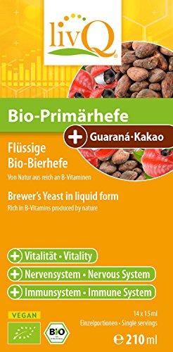 LivQ Bio-Primärhefe Guarana-Kakao - Hochwertige Bier Hefe Vitamin B-Quelle - Belebend, Präbiotisch - 210ml