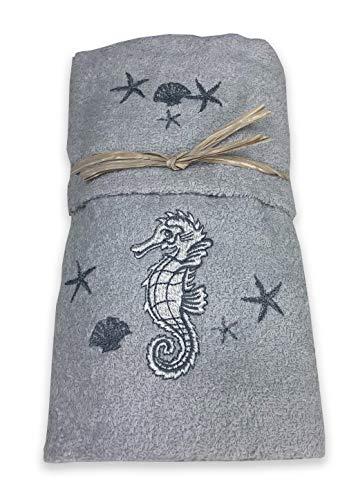Tex family Juego de toallas de playa con diseño de caballito marino, color gris