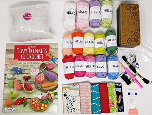 Hello Cotton Amigurumi Conjuntos de baratijas para libro de ganchillo, hilos, tela y kit de costura
