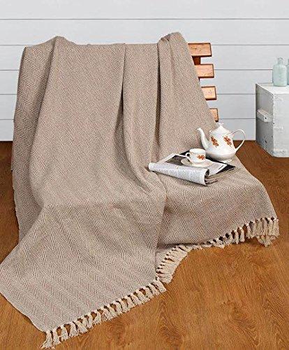EHC Tagesdecke 150x 200cm Natürliche Baumwolle Fischgrätmuster, ideal fürs Sofa, Sessel, Doppelbett-Größe
