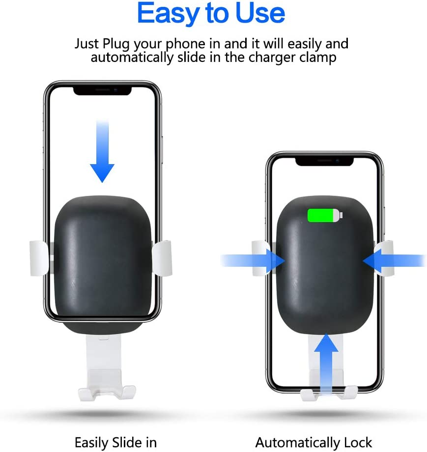 iPhone X Xs Max 8 Plus Wireless Car Charger Mount QI Fast Charging Auto Clamping Phone Holder Air Vent Compatible with Samsung Galaxy S10 S9 S8 S7 Edge Note 8 5