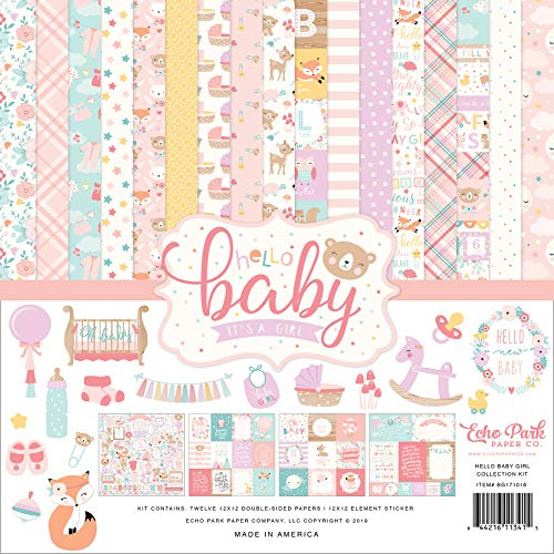 Echo Park Paper Company Hello Baby Girl Collection Kit Papier, Pink, Petrol, Gelb, Lila, Orange