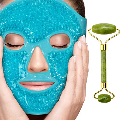 Perfecore Ice Face Mask + Jade Roller - Beauty Roller Face Neck Massage Tool - Stone Face Roller & Facial Mask Set for Wrinkles Fine Lines & Anti Aging, Puffy Eyes, Dark Circles & Overall Skin Care