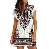 Trada Minikleid, Mode Frauen Casual Ethnische Printed V-Ausschnitt Kurzarm Sommer mexikanische bestickte Hippie Bluse Kleid Boho Elegant Festlich Kurzarm Abend Party Club Kleid (M, Weiß)