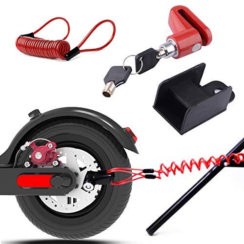 Scooter Eléctrico Cerradura del Freno de Disco de Seguridad para Xiaomi Mijia M365 Ruedas de Bicicleta Armario con Cuerda de Recordatorio (Rojo)