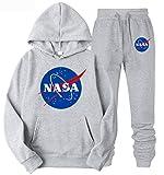Leslady Conjuntos Deportivos para Hombres Otoño Invierno Hombres Chándal Sudaderas NASA Top Pantalones Traje Deportivo Chándal