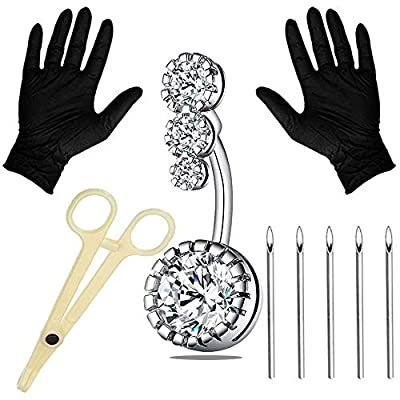 Anghie 7PCS Piercing Kit Professional Belly Piercing Kit 316L Stainless Steel 14G Belly Navel Rings Body Piercing Set for Navel Piercing Kit, Piercing Tool and Piercing Supplies