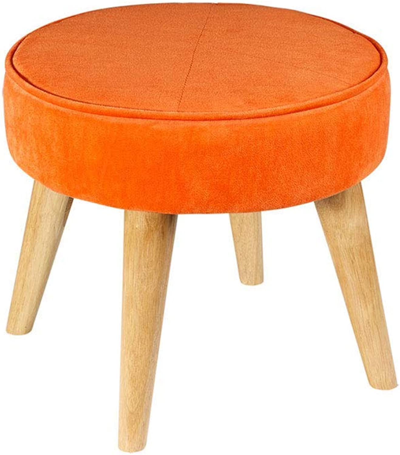 GJD Household Footstool, Simple Modern Fabric Sofa Bench Household Solid Wood Stool40×36cm, Multi-color Selection (color   orange)