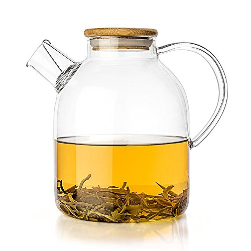 Tealyra - Glass Kettle Teapot - 1800ml - Stove-top Safe - Heat Resistant Borosilicate - Pitcher - Carafe - No-Dripping - Tea Juice Water - Hot Iced - Bamboo Lid - Filter Spout