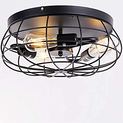 Industrial 3-Light Vintage Metal Cage Semi Flush Mount Ceiling Light Rustic Ceiling Lighting Fixture for for Kitchen Living Room Bedroom Hallway Stairway Garage Farmhouse Lamps