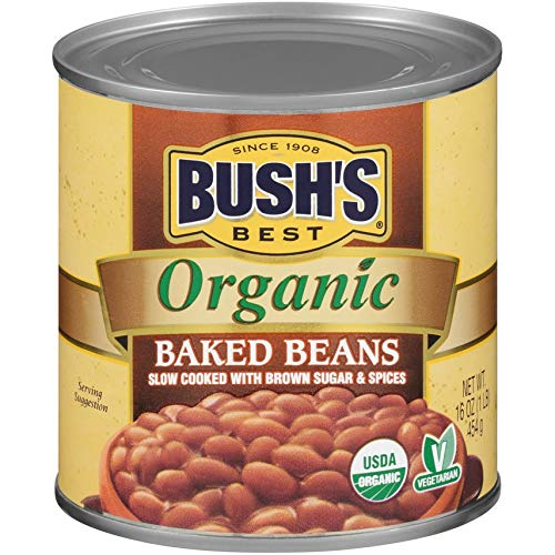 BUSH'S BEST Organic Baked Beans, 16 Ounce Can - Canned Beans, Baked Beans Canned, USDA Certified Organic, Source of Plant Based Protein and Fiber, Low Fat, Gluten Free (Pack of 6)