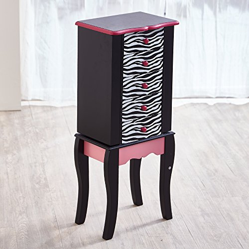 Teamson Kids Zebra Armario de Cofre, Madera, Negro, 30.99x24.51x74.30 cm