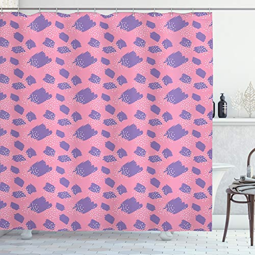 ABAKUHAUS Abstract Douchegordijn, Random Paintbrush Hits, stoffen badkamerdecoratieset met haakjes, 175 x 180 cm, Pastel Roze Blauw Violet