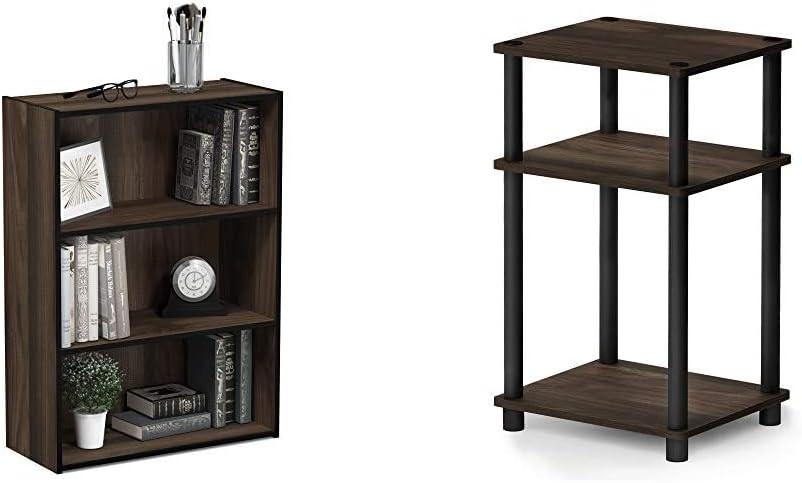 お金を節約 Furinno Pasir 3-Tier Open Shelf Columbia Bookcase 使い勝手の良い Just Walnut