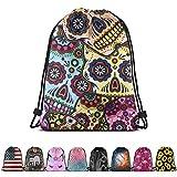 Britimes Drawstring Bag Sugar Skull Waterproof Halloween Outdoor Hiking Beach Gym Backpack Pull String Storage Sackpack Gift for Girls