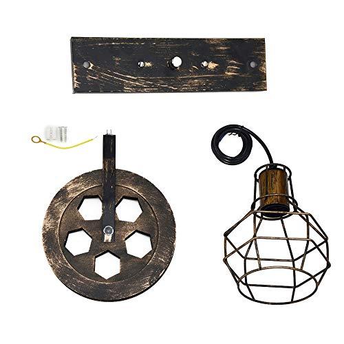 Galapara Apliques de Pared Metal Vintage Lampara Rustica Retro Lámpara Industrial de...