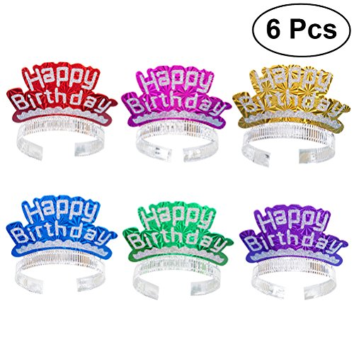 LUOEM Geburtstag Stirnband Tiaras Glitter Party Hüte Haarspangen Happy Birthday Dekoration Kinder Party Supplies Geschenk 6ST