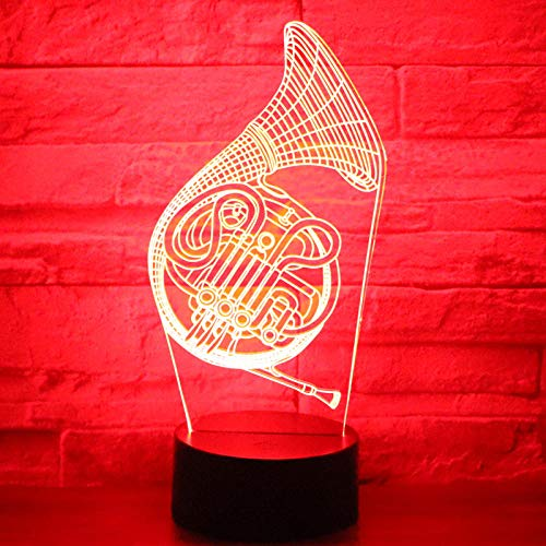 Luz nocturna LED 3D, instrumentos musicales saxofón con lámpara de decoración del hogar, sorprendente visualización óptica, 7 colores táctiles