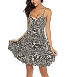 Unibelle Ärmelloses Sommerkleid, Negligees Riemchensommer Strand Swing Minikleid Kleider Kleid Nachthemd Ärmellos Nachtwäsche für Damen S-XXL