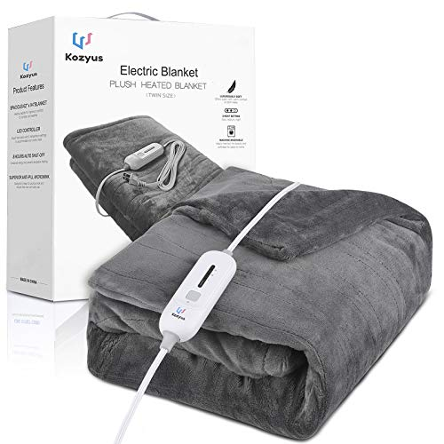"""Kozyus Electric Heated Blanket Twin Size, Ultra Soft Flannel Fast Heating Blanket with 3 Heat Settings and Extra Long 24-Foot Power Cord, Auto Off and Machine Washable for Home Office Use (62"""" x 84"""")"""