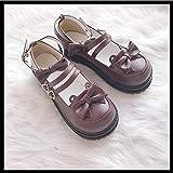 DJDLNK Lolita Cabeza Redonda Lindos Zapatos De Tacón Bajo Lolita Niñas Zapatos Solos
