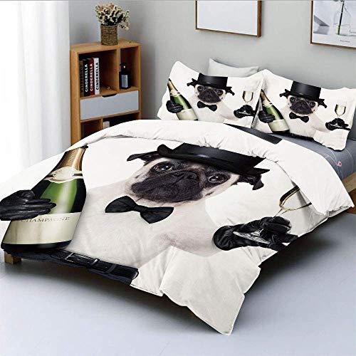 Qoqon Bettbezug-Set, Festhund mit Champagnerflasche beim Toasten Happy Moments PhotographsDecorative 3-teiliges Bettwäscheset mit 2 Kissen Sham, Schwarz-Weiß-Smaragd, Best Gift Fo