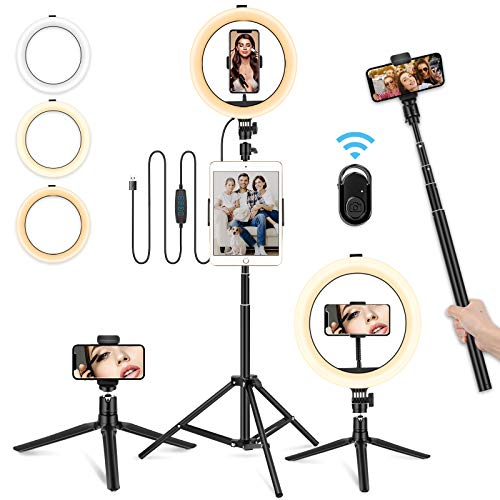 """10"""" Ring Light with Tripod Stand Selife Ring Light with Phone&iPad Holder Dimmable LED Ring Light with Desktop Portable Tripod for Vlog, Photography, Makeup, Live Stream Compatible for iPhone Android"""