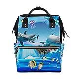 DEZIRO Rucksack für Aquarien, Motiv: Delfin-Pinguin, Segeltuch, für die Schule